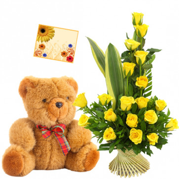 Yellow Basket - Basket of 15 Yellow Roses + Teddy 6 inch + Card