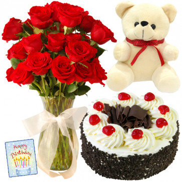 Flower Vase Combo - 10 Red Roses in Vase, Teddy 6 inch, 1/2 kg Chocolate Cake + Card