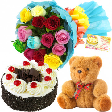 Praiseworthy - Bouquet 12 Mix Roses + 1/2 Kg Black Forest Cake + Teddy 6 inch+ Card