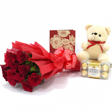 "Miles of Smiles - 12 Red Roses + Ferrero Rocher 16 pcs + Teddy 6"" + Card"