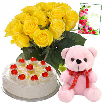 "Honourable Choice - Bouquet 12 Yellow Rose + 1/2 Kg Pineapple Cake + Teddy Bear 8"" + Card"