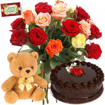 Mix Choco Teddy - 12 Mix Roses Bunch, Teddy 6 inch, Chocolate Cake 1/2 kg + Card
