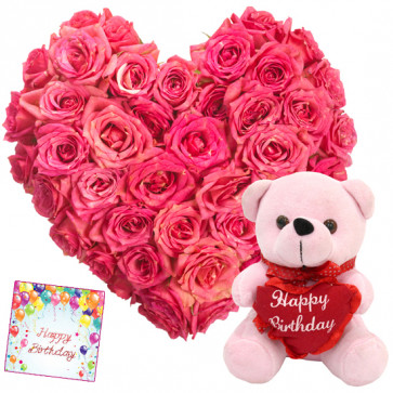 Pink Gift - 25 Pink Roses Heart Shaped + Pink Teddy 6' + Card