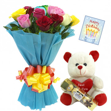 """Cute Gift - 12 Mix Roses Bunch + Teddy with Heart 6"""" + Ferrero Rocher 5 pcs + Card"""