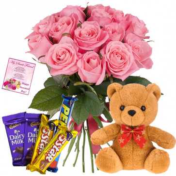 "Special Treat - 15 Pink Roses + 5 Cadbury Chocolates + Teddy 8"" + Card"