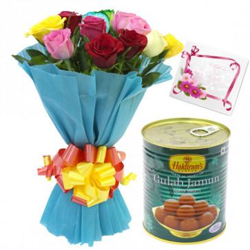 Mix Sweet Tin - 12 Mix Roses Bunch, Gulab Jamun 500 gms & Card