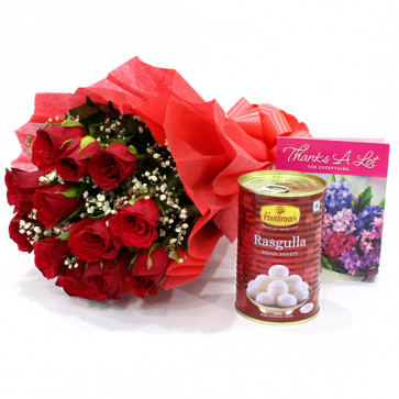 Red Flower Rasgulla - 12 Red Roses Bunch, Rasgulla 500 gms & Card