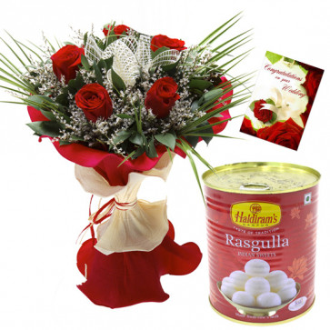 Red Rose N Rasgulla - 6 Red Roses, Rasgulla 500 gms & Card