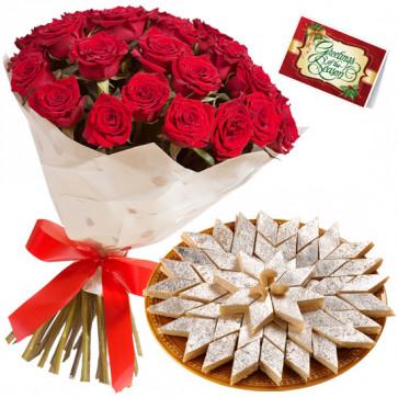 Mithe Lamhe - 12 Red Roses + Kaju Barfi 250 gms + Card