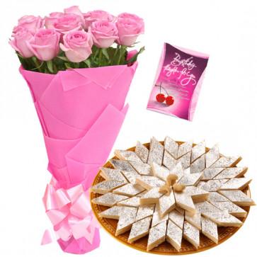 Pink Katli Combo - 12 Pink Roses Bunch, Kaju Katli 250 gms & Card