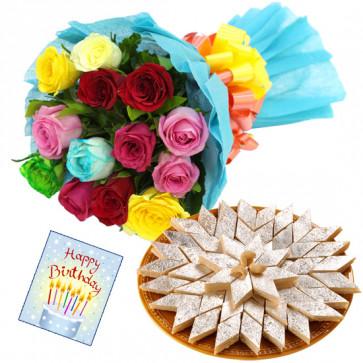 Hypnotic - 12 Mix Roses Bouquet + 250 Gms Kaju Katli + Card