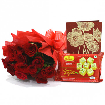 Red Papdi Treat - 12 Red Roses Bunch, Soan Papdi 250 gms & Card