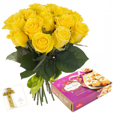 Marvellous - Bouquet Of 12 Yellow Roses + Soan Papdi Box 250 Gms + Card