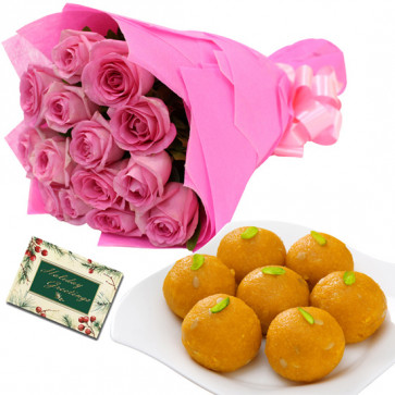 Pink Laddoo - 10 Pink Roses Bunch, Motichur Laddoo 250 gms & Card