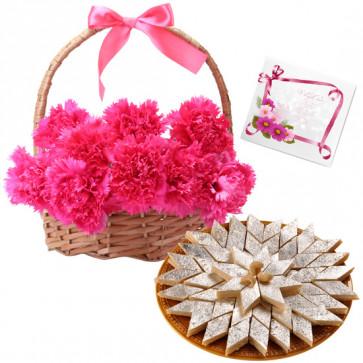 Delightful Combo - 15 Red Carnations Basket + Kaju Katli Box 250 Gms + Card