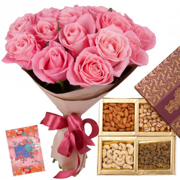 Your Favourite - Bunch of 12 Pink Roses, Assorted Dryfruits in Box 200 gms & Card
