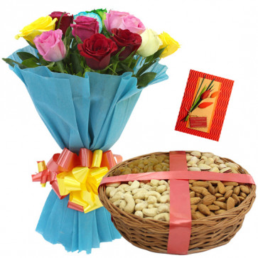Big Dryfruit Treat - Bunch of 12 Mix Roses, Assorted Dryfruits Basket 200 gms & Card