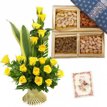 Roses with Dryfruits - 15 Yellow Roses in Basket, Assorted Dryfruit Box 200 gms & Card