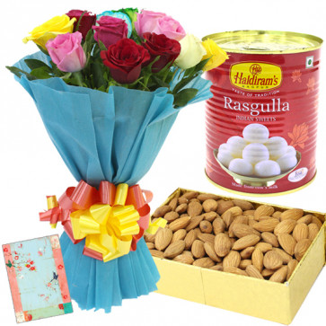 Color Full Dryfruit - 12 Mix Roses, Almond Box 200 gms, Haldiram Rasgulla 500 gms & Card