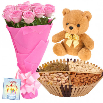 Soft Crunch - Bunch of 12 Pink Roses, Assorted Dryfruits in Basket 200 gms, Teddy 6 inch & Card