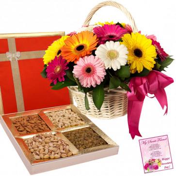 Gerberas Special - 18 Mix Gerberas Basket, Assorted Dryfruits in Box 200 gms & Card