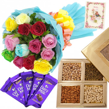 Tasteful Combo - Bunch of 12 Mix Roses, Assorted Dryfruits in Box 200 gms, 5 Dairy Milk & Card