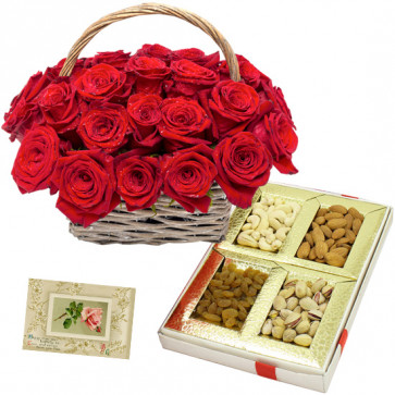 Exotic Rose Basket - 20 Red Roses Basket, Assorted Dryfruits in Box 200 gms & Card