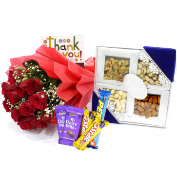Perfect Ways - Bunch of 15 Red Roses, Assorted Dryfruits in Box 200 gms, 5 Assorted Bars & Card