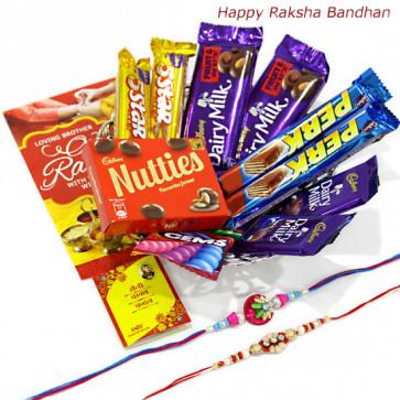 All for Rakhi - 2 Dairy Milk Fruit n Nut, 2 Dairy Milk (M), 2 Five Star, Cadbury Nutties, 2 Perk, Gems with 2 Rakhi and Roli-Chawal
