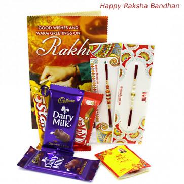 All Chocs - 2 Dairy Milk, Five Star, Kitkat with 2 Rakhi and Roli-Chawal