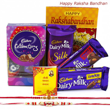 Mini Silky Treat - Mini Celebrations, Dairy Milk Silk, Fruit & Nut, Crackle with 2 Rakhi and Roli-Chawal