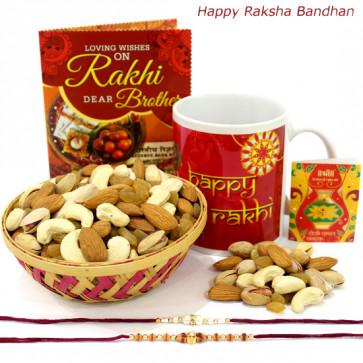 Muggy Crunch - Assorted Dryfruits Basket, Happy Rakhi Mug with 2 Rakhi and Roli-Chawal