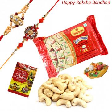 Sweet Kaju - Cashew 100 gms, Soanpapdi with 2 Rakhi and Roli-Chawal