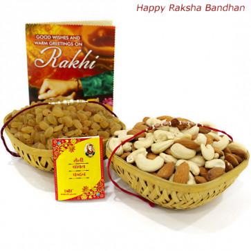 Thrice - Almonds & Cashews 100 gms Basket, Raisin 100 gms Basket with 2 Rakhi and Roli-Chawal