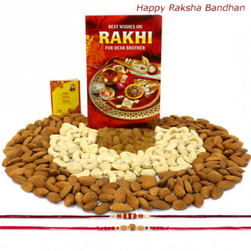 Triple Treat - Almonds 100 gms, Cashews 100 gms, Raisin 100 gms with 2 Rakhi and Roli-Chawal