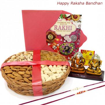 Lucky Basket - Assorted Dryfruits Basket, Laxmi Ganesh Idol with 2 Rakhi and Roli-Chawal