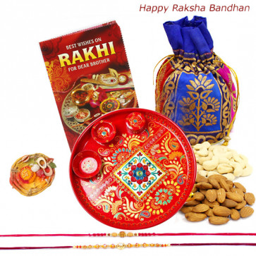 Serene Treat - Almonds Cashews in Potli (D), Meenakari Thali 6 inch with 2 Rakhi and Roli-Chawal