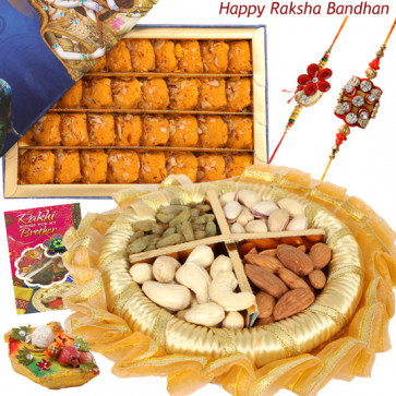 Peda N Thali - Kesar Peda, Assorted Dryfruits, Decorative Thali with 2 Rakhi and Roli-Chawal
