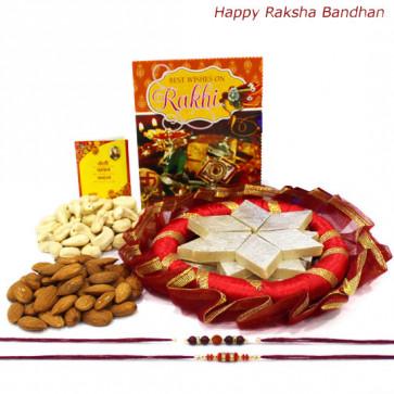 Kaju Thali - Kaju Katli 500 gms, Almonds 100 gms, Cashews 100 gms, Decorative Thali with 2 Rakhi and Roli-Chawal