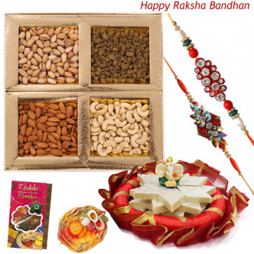 Decorative Combo - Assorted Dryfruits, Kaju Katli, Ganesh Idol, Decorative Thali with 2 Rakhi and Roli-Chawal