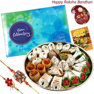 Mix Celebration - Kaju Mix, Celebrations with 2 Rakhi and Roli-Chawal