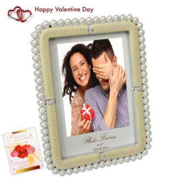 Stone Studded Photo Frame & Valentine Greeting Card