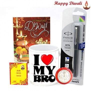 Nice Bhaidooj Gift - I Love My Bro Mug, Parker Beta Standard Ball Pen with Bhaidooj Tikka and Laxmi-Ganesha Coin