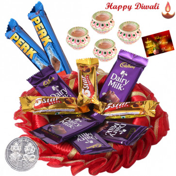 Wonderful Cadbury Thali - 10 Assorted Cadbury Bars, Decorative Thali with 4 Diyas and Laxmi-Ganesha Coin