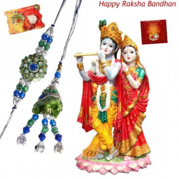 Radha Krisha Hamper - Radha Krishna Idols with Bhaiya Bhabhi Rakhi Pair and Roli-Chawal