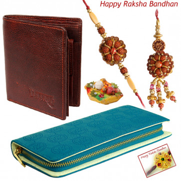 Simple Bhaiya Bhabhi - Blue Clutch, Brown Wallet with Bhaiya Bhabhi Rakhi Pair and Roli-Chawal