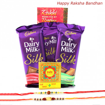 Assorted Silk Hamper - Cadbury Dairy Milk Silk 3 Pcs with 2 Rakhi and Roli-Chawal