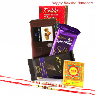Chocolaty Rakhi - Temptation, Dairy Milk Silk, Bournville with 2 Rakhi and Roli-Chawal