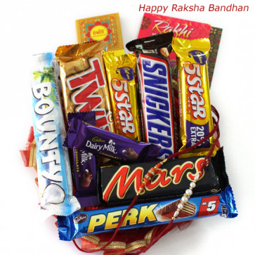 Chocolate Extravaganza - Assorted 5 Bars, Snickers, Mars, Twix, Bounty with 2 Rakhi and Roli-Chawal