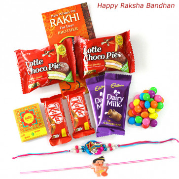 Chocolate Overload - Dairy Milk 2 Pcs, 2 Kitkat, 2 Gems, 2 Chocopie with 1 Kids Rakhi & 1 Rakhi and Roli-Chawal